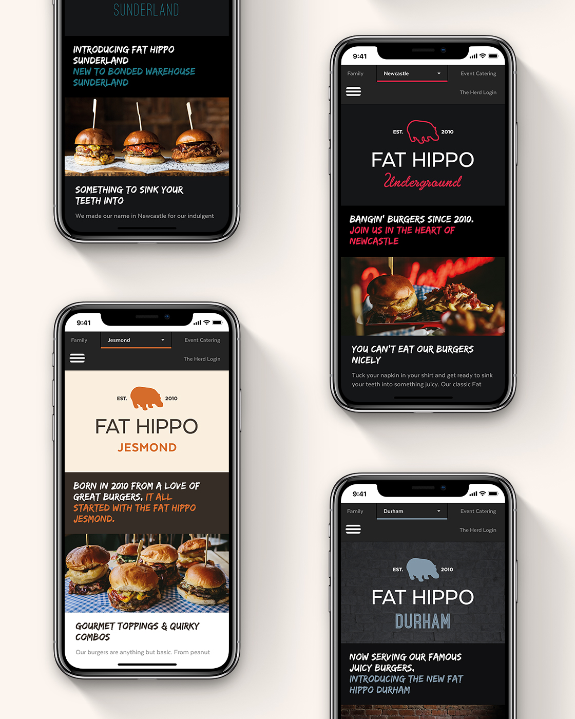 The Fat Hippo website on a mobile device