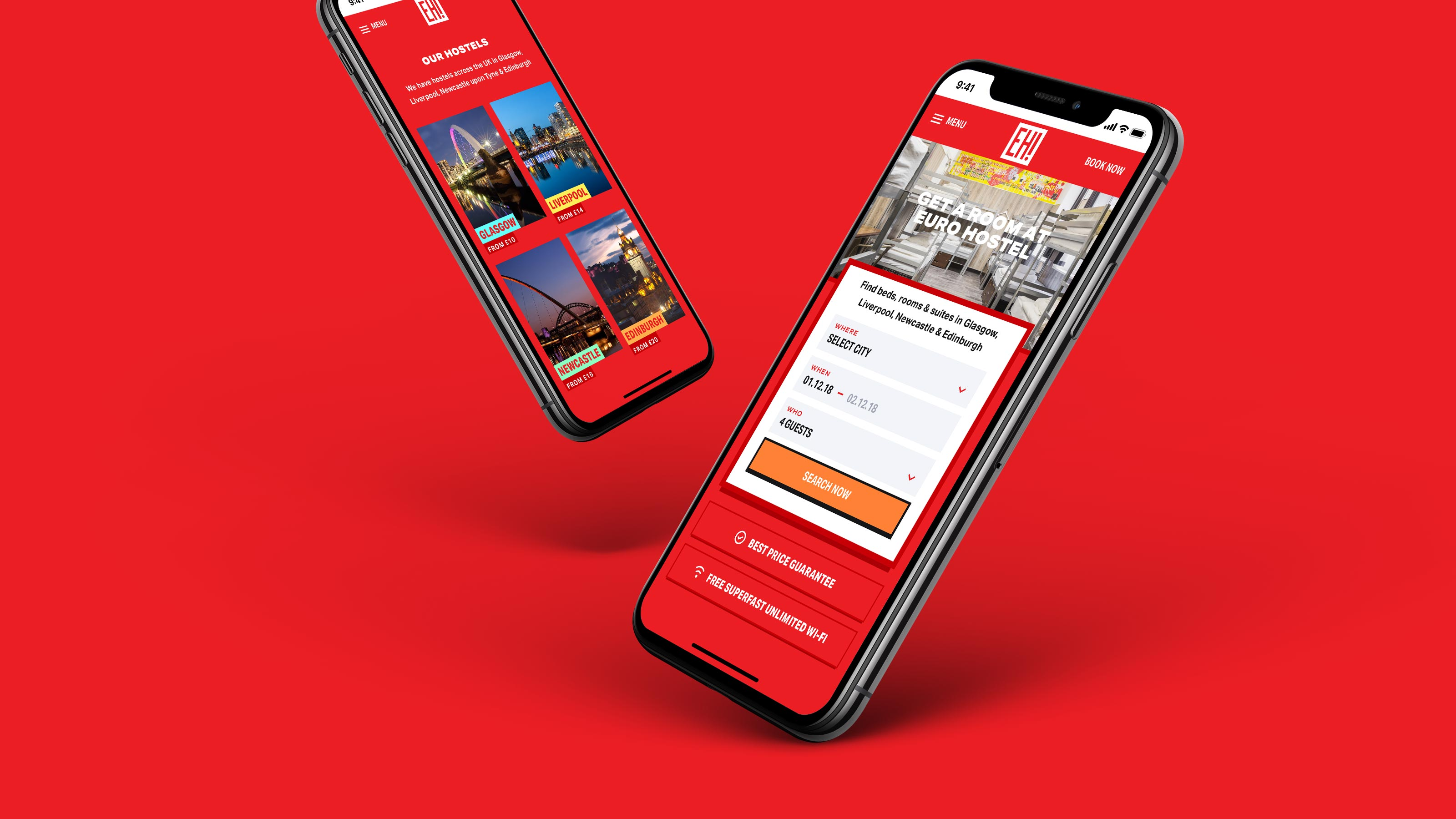 Euro Hostel Mobile Website Design and Development