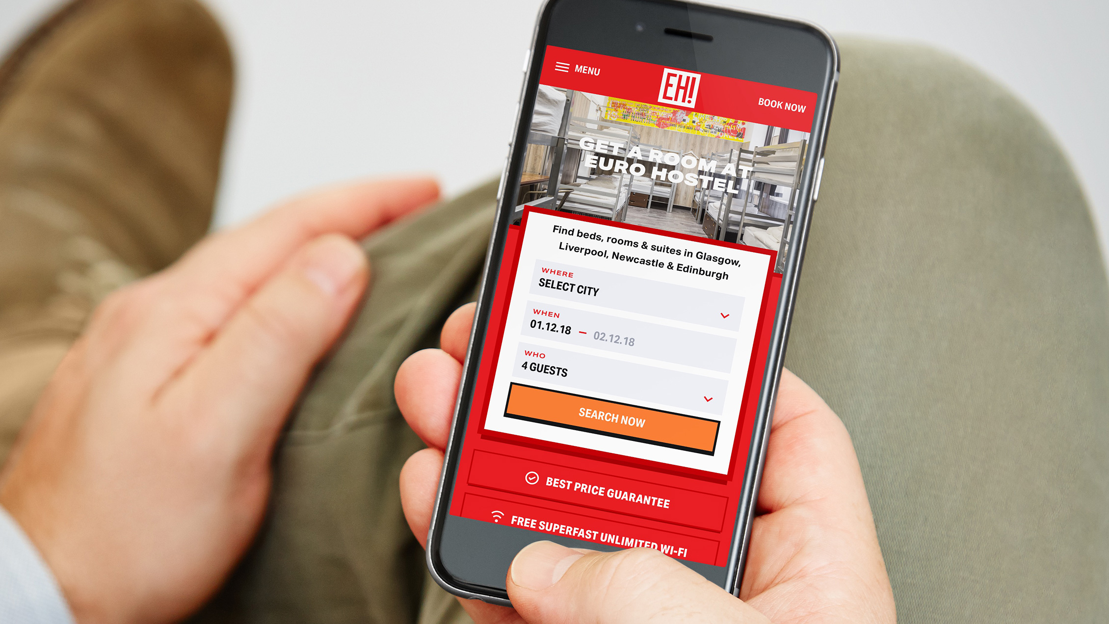 Euro Hostel target market using their booking optimised website on mobile